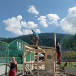 Hüttenbau: Montage der Rofen, Sepp Schaffenrath, Günter Gröbl, Helmut Kapferer